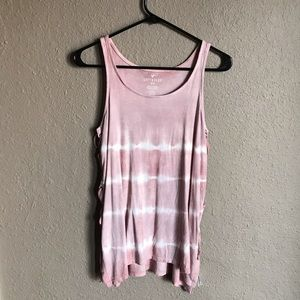 AEO Soft & Sexy Lace Up Ribbed Top